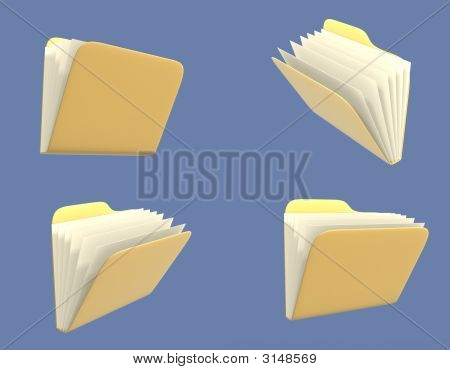 Four Folders Of Yellow Color