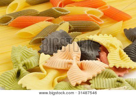 Italian Pasta Spaghetti, Penne Rigate Tricolore And Farfalle