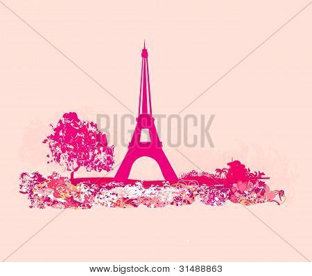 vintage retro Eiffel card , vector illustration