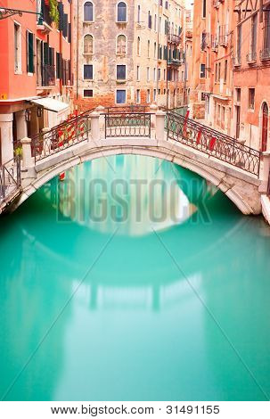 Venice, Bridge On Water Canall. Long Exposure Photography.