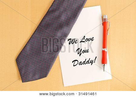 Tie And Pen On Father's Day Captioned Greeting Card
