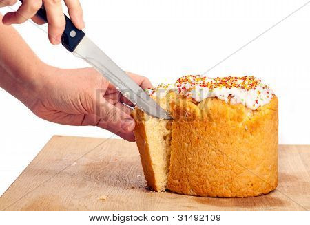 Cropped view of female cutting Easter cake