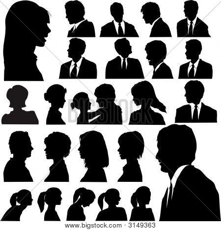 Kontur Menschen Portraits Köpfe Gesichter Schultern Set.Eps