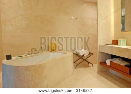 A Beautiful Contemporary Marble Hotel Bathroom