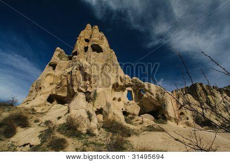 Hidden churchs in Cappadocia rock hills