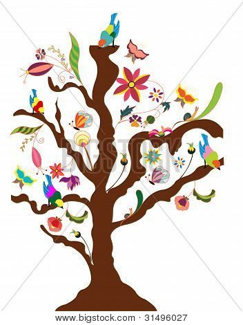 Illustration of a tree of flowers and birds