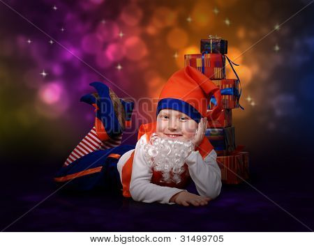 Smiling Little Gnome With Gift Boxes