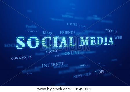 Social media. Words cloud on blue background.