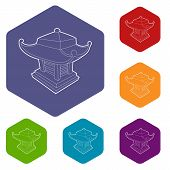 Asian Pagoda Icon. Outline Illustration Of Asian Pagoda Vector Icon For Web poster