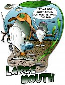 image of bluegill  - Hand drawn cartoon illustration of two bass fish - JPG