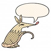 cartoon sneaky rat with speech bubble in comic book style poster