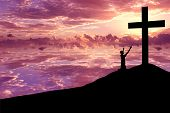 stock photo of cross hill  - Christian Background - JPG
