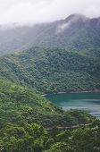 Foggy Landscape By Beautiful Thousand Island Lake In Taiwan, China, Asia. Lake Surrounded By Deep Tr poster