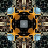 Seamless Symmetrical Pattern Abstract Grunge Building Texture poster