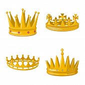 Vector Illustration Of Monarchy And Gold Symbol. Collection Of Monarchy And Heraldic Vector Icon For poster