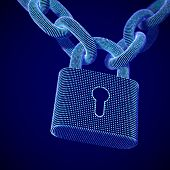The Concept Of Digital Security And Data Protection: A Closed Lock On The Chain On Dark Background.  poster