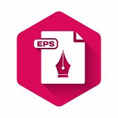 White Eps File Document. Download Eps Button Icon Isolated With Long Shadow. Eps File Symbol. Pink H poster