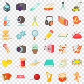 Human Hobby Icons Set. Cartoon Style Of 36 Human Hobby Vector Icons For Web For Any Design poster
