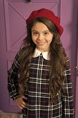 French Style Beret Hat. How Wear Beret Like Fashion Girl. Kid Little Girl With Long Hair Posing In H poster