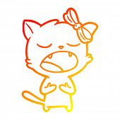 warm gradient line drawing of a cartoon cat meowing poster