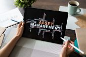 Asset Management Words Cloud On Screen. Financial And Business Concept. poster
