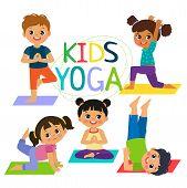 Kids Yoga Banner Vector Design Concept. Girl And Boy In Yoga Position Vector Illustration. Happy Car poster