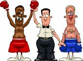 foto of pugilistic  - The referee declares the winner vector illustration - JPG