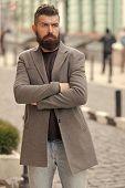 Stylish Beard And Mustache Fall And Winter Season. Man Bearded Hipster Stylish Fashionable Coat. Bea poster