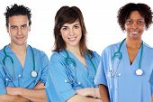 foto of medical staff  - Team of young doctors a over white background - JPG