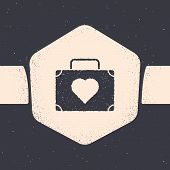 Grunge Suitcase For Travel With Heart Icon Isolated On Grey Background. Honeymoon Symbol. Traveling  poster