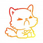 warm gradient line drawing of a cute cartoon angry cat poster