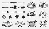 Collection Of Butchery, Barbecue And Grill  Logo, Emblems, Labels, Badges. Set Of 8 Logo Templates A poster
