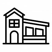 House With A Sloping Roof Icon. Outline House With A Sloping Roof Vector Icon For Web Design Isolate poster