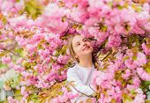 Little Girl Enjoy Spring. Kid Enjoying Pink Cherry Blossom. Tender Bloom. Pink Is The Most Girlish C poster