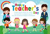 Happy Teacher`s Day Poster Concept, World Teachers Day Flat Vector Banner Template, Teachers And Pup poster