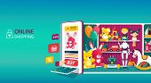 Online Shopping For Kids Toys With A Colorful Vector Design, Showing A Tablet Or Mobile Phone With C poster