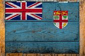 National Flag Of Fiji On A Wooden Wall Background.the Concept Of National Pride And Symbol Of The Co poster