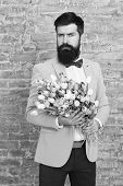 Invite Her Dating. Romantic Man With Flowers. Romantic Gift. Macho Getting Ready Romantic Date. Wait poster