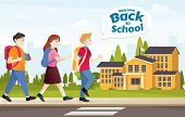 Welcome Back To School! Cute School Kids. Back To School, Student Kids Vector Illustration poster