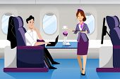 Young Guy Travel By Airplane In Business Class. Vector Flat Cartoon Illustration. First-class Plane  poster