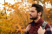 Picture Of A Handsome Man Hiking Through The Forest In The Fall In Canada poster
