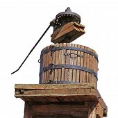 stock photo of wine-press  - Routed photograph of a press with grapes for the grape harvest - JPG
