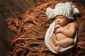 Sleeping Newborn Baby, New Born Kid Sleep In Hat, Studio Portrait On Brown Background, Child One Mon poster