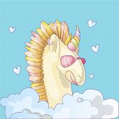 Cute Unicorn Sticker. Unicorn With Pink Glasses, In Cloud With Hearts Above. Colored Horn And Horse  poster