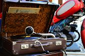 foto of hooters  - Vintage gramophone in a brown leather case - JPG