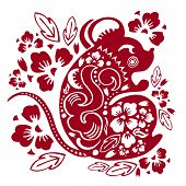 Chinese New Year 2020. The Year Of The Mouse Or Rat. Vector Papercut Silhouette Illustration With An poster