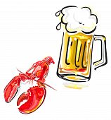 pic of crawfish  - Vector illustration of crawfish and mug of beer isolated on white background - JPG