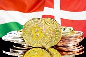 Concept For Investors In Cryptocurrency And Blockchain Technology In The Hungary And Denmark. Bitcoi poster