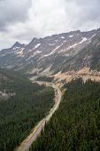 Scenic But Foggy View Of Washington Pass Along The North Cascades Scenic Highway poster