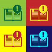 Color Interesting Facts Icon Isolated On Color Background. Book Or Article Sign. Exclamation Mark Si poster
